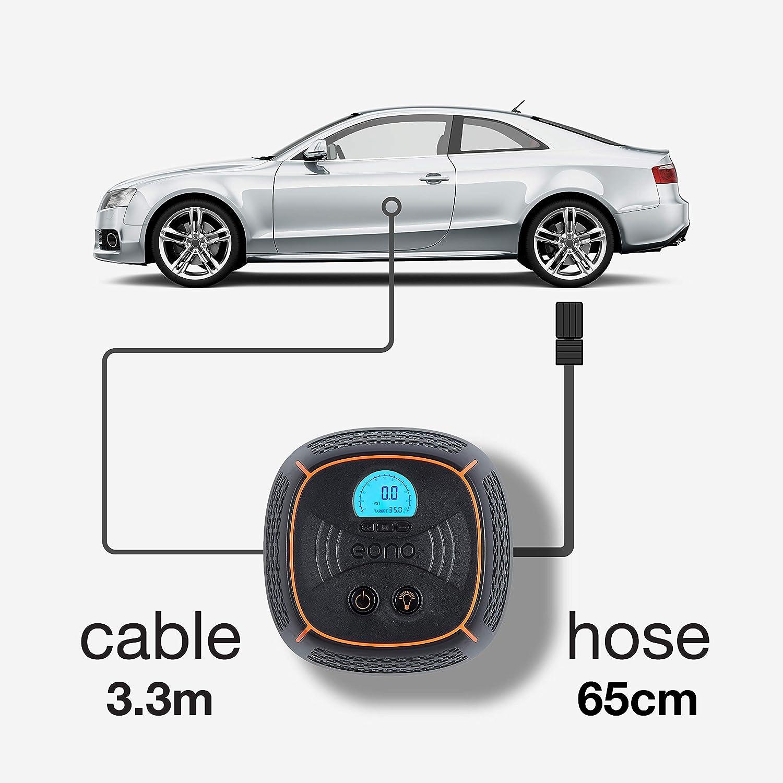 Amazon Marka: EONO Essentials B68A Inflador de neumáticos digital preconfigurado con LED