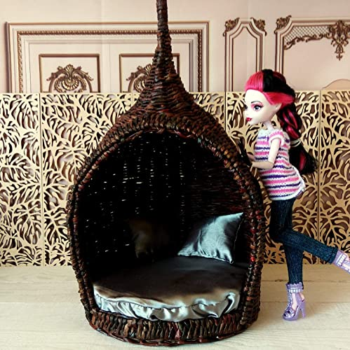 Amazon Com Dollhouse Wicker Cocoon Chair With Mattress 1 6 Scale Fairy Garden 12 Inch Size Camping Hutch Tent Handmade