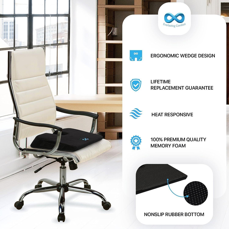 Orthopedic U Cut-Out Design to Relieve Pain Everlasting Comfort 100/% Pure Memory Foam Wedge Seat Cushion Body Heat Responsive Car Cushion