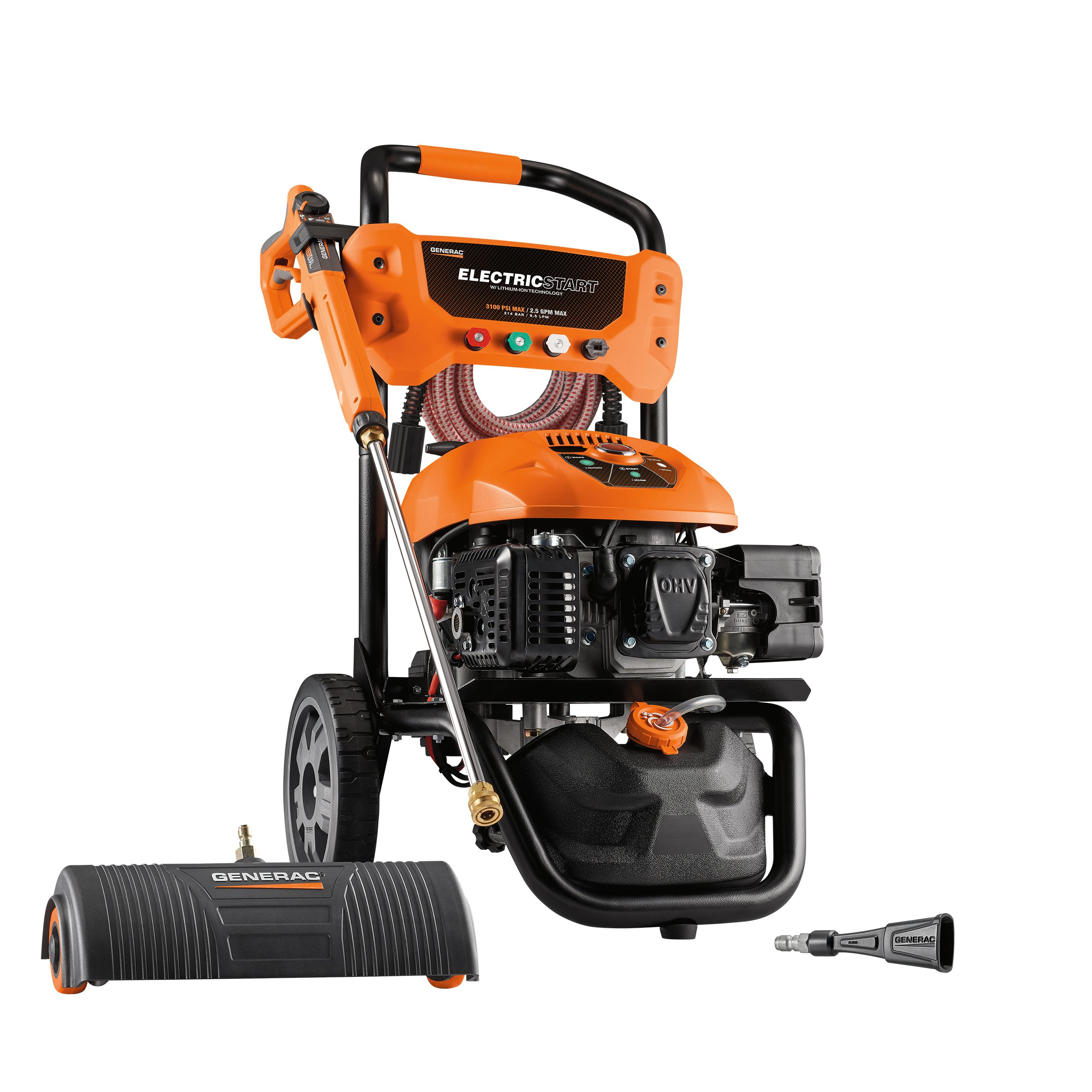 Generac Gas Pressure Washer Kit 3100 PSI 2.5 GPM Lithium-Ion Electric Start with PowerDial Spray Gun, 30' Ultra Flex Hose and 4 Nozzles - Includes Power Broom & Soap Blaster