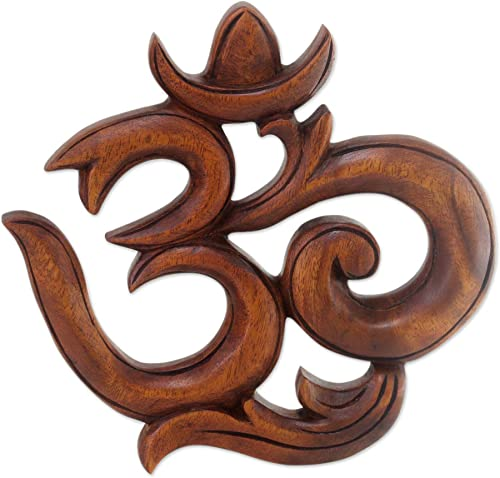 NOVICA 208299 Sacred Om Wood Relief Panel
