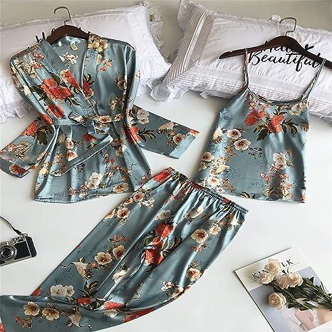 BABIFIS - Pijama para mujer, 3 piezas, con correa de satén, ropa de noche para mujer, diseño floral, de manga larga
