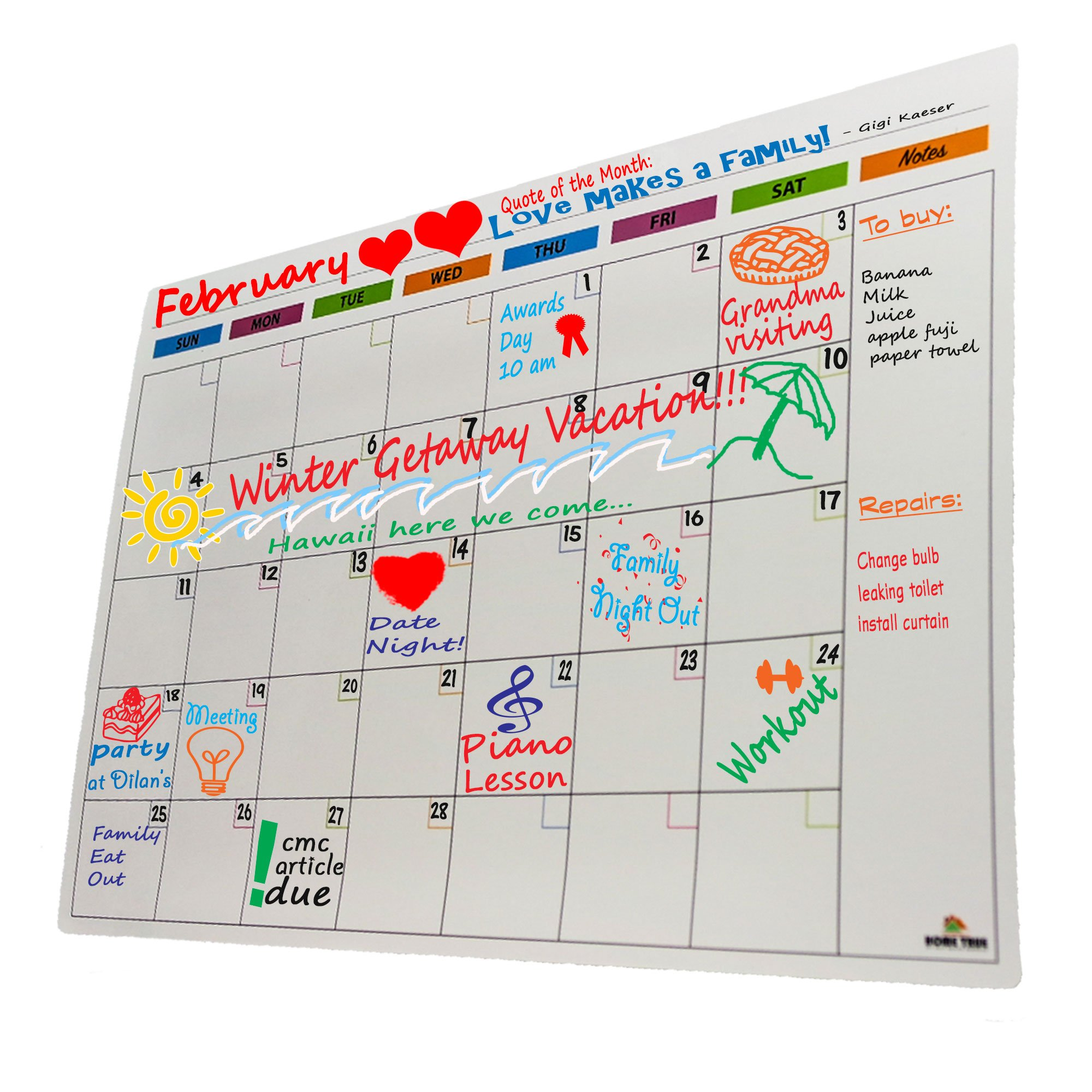 Magnetic Monthly Calendar Planner For Refrigerator   White Dry Erase Board for Fridge   Large 12'' x 17''   Durable, Stain Resistant   Easy Erase Even After A Month