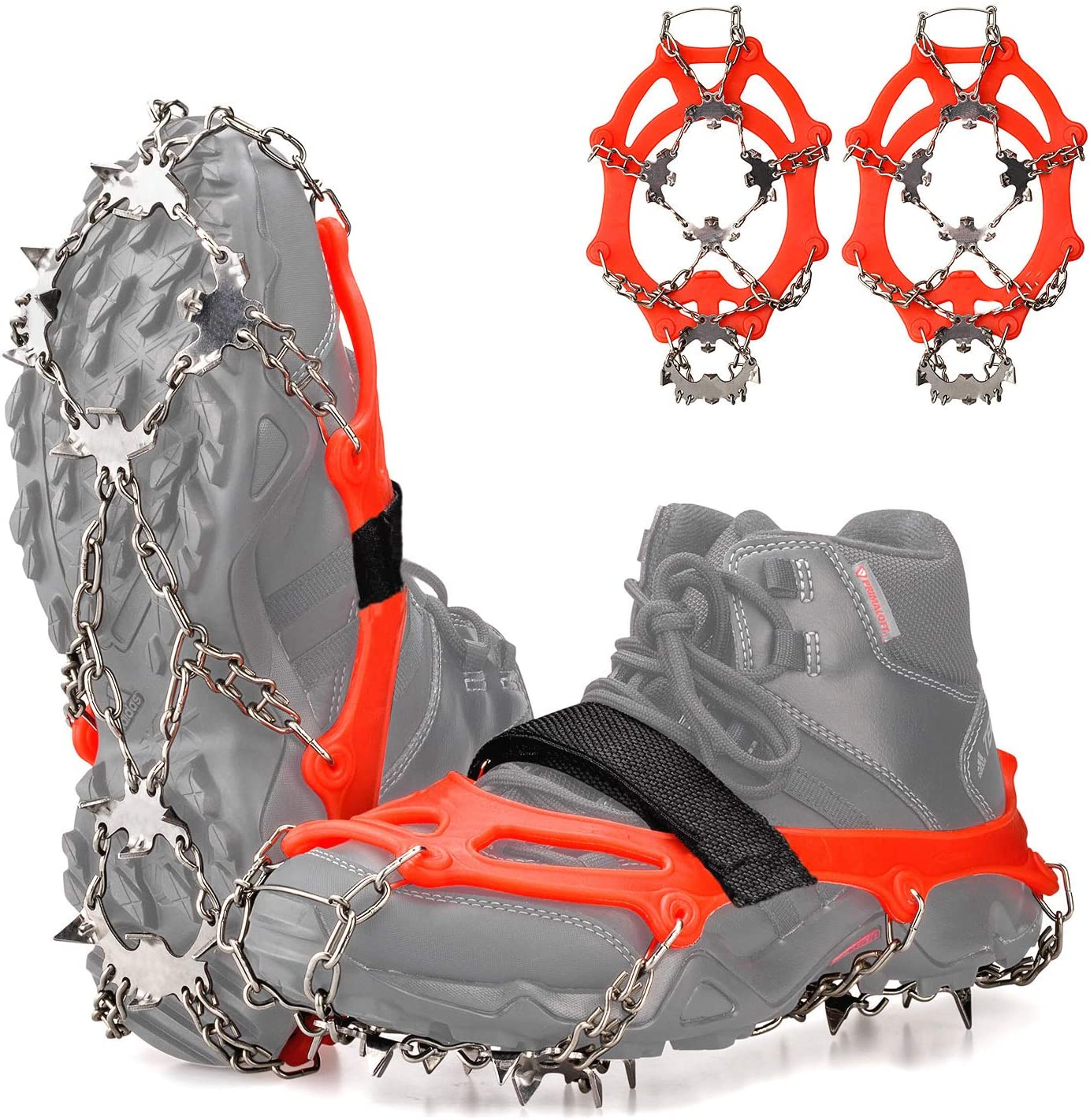 ZUXNZUX Ice Snow Grips Traction Crampons Cleats 11 Spikes Stainless Steel Anti-Slip Microspikes Winter Durable Silicone Over Shoe for Hiking Fishing Walking Mountaineering Outdoor Travelling