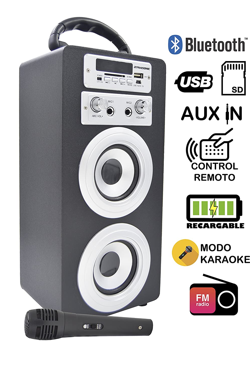 DYNASONIC Altavoz Bluetooth con modo Karaoke Bluetooth 10W, Reproductor mp3 inalámbrico portátil, lector USB SD, Radio FM - Modelo color Negro