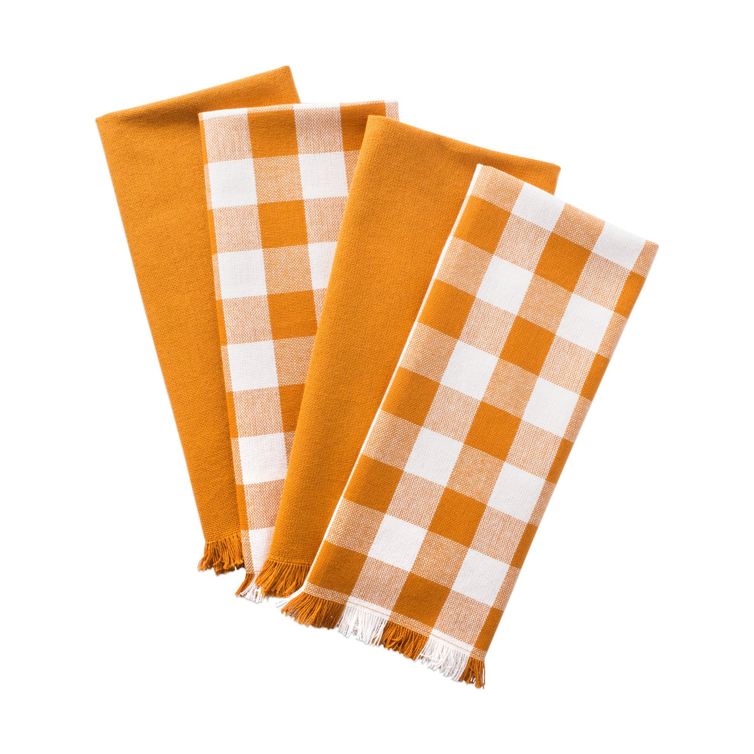 "DII Woven Heavyweight Cotton Dish Towels with Decorative Fringe, Absorbent Dishtowels for Drying and Cleaning Kitchen Dishes or Countertops (18x28"", Set of 4) Pumpkin Spice Checker"