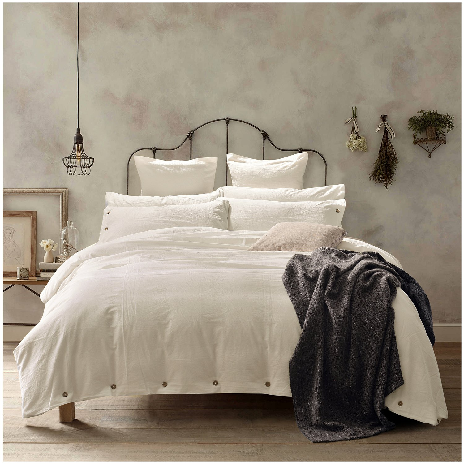 Beautiful Luxury 100% Washed Cotton Off White Bedding Duvet Cover 3 PC Set Queen Size  New