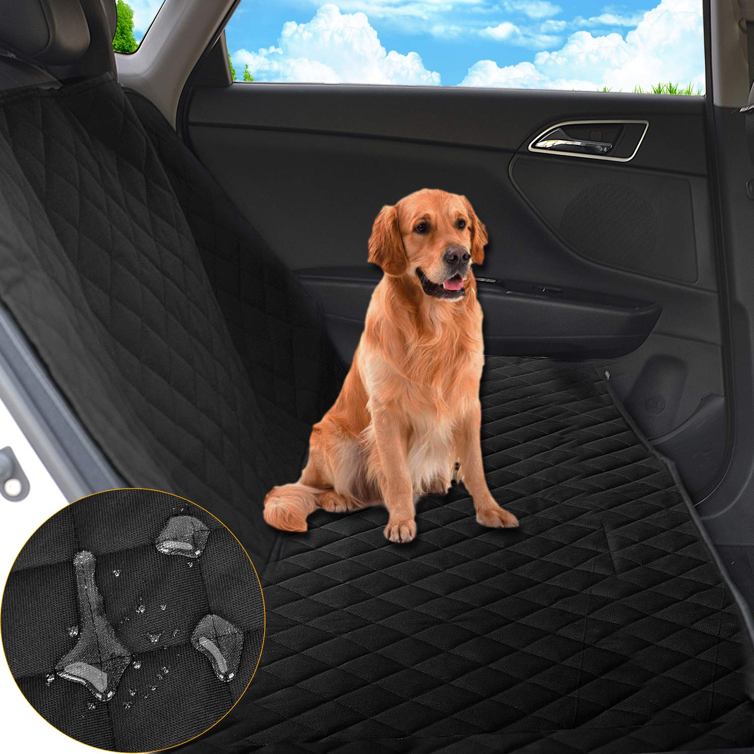 JINCong Pet Seat Cover Scratch-Proof Waterproof Anti-Slip Dog Car Seat Covers Enhanced Sewing Suitable for Car Trucks SUV Rear Seat Protection Black