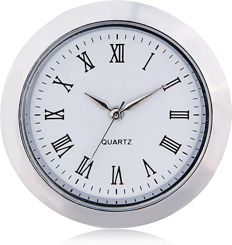 "ShoppeWatch Mini Clock Insert Quartz Movement Round 1 7/16"" (35mm) Miniature Clock Fit Up White Face Silver Tone Bezel Roman Numerals CK097SL"