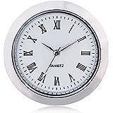 "ShoppeWatch Mini Clock Insert Quartz Movement Round 1 7/16"" (35mm) Miniature Clock Fit Up White Face Silver Tone Bezel Roman Numerals CK-097"
