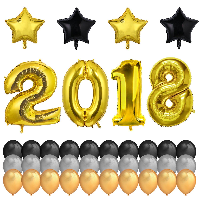 neujahr silvester party set 2018 deko konsait 40inch gold zahlen folien ebay. Black Bedroom Furniture Sets. Home Design Ideas