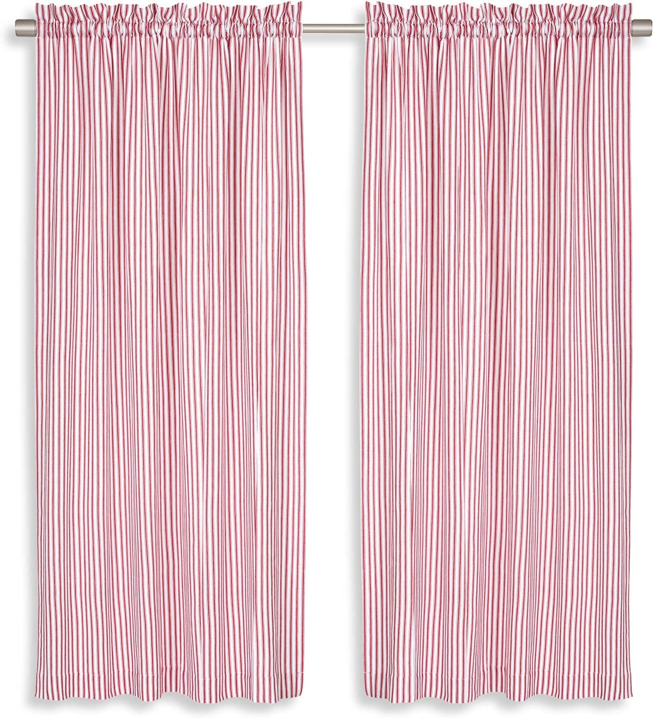 Cackleberry Home Red and White Ticking Stripe Woven Cotton Panel Curtains 54 Inches W x 96 Inches L, Set of 2