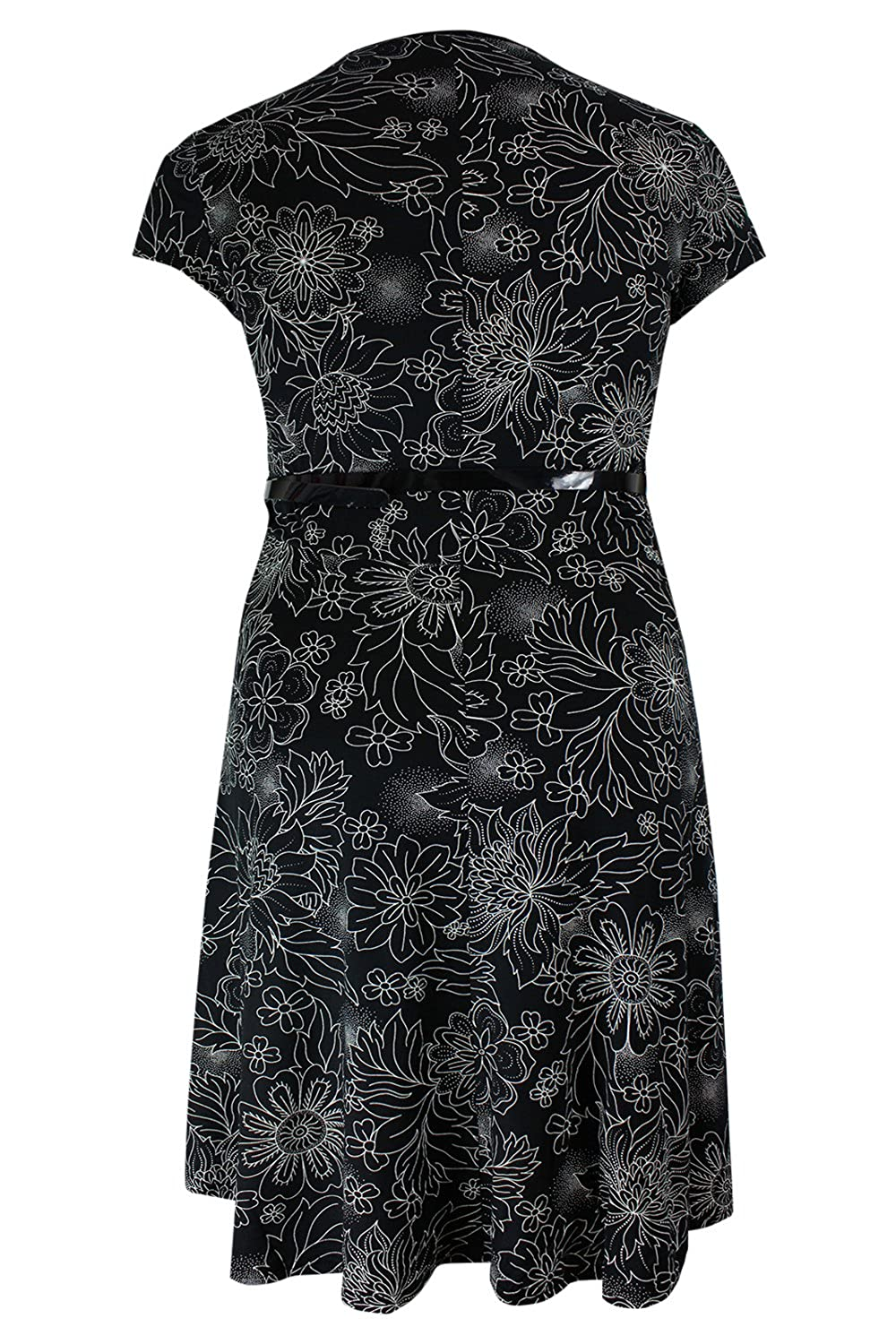 dfcb42c011 Ladies Plus Size Black Cream Floral Print Skater Dress   Belt   Amazon.co.uk  Clothing