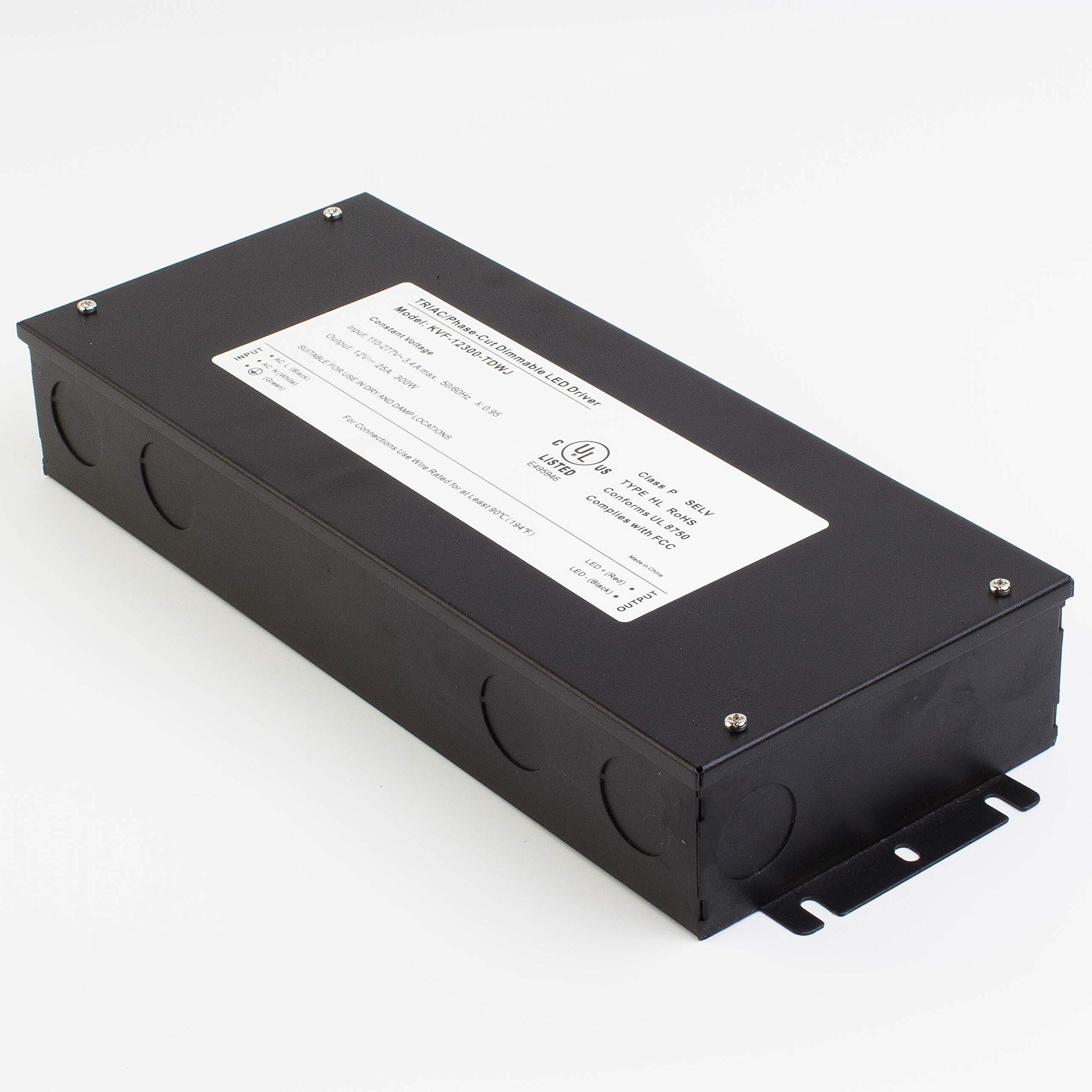 LEDupdates 12v UL Listed 300w Triac Dimmable Driver 100V - 277V AC Input Transformer Constant Voltage Power Supply for LED Strip light Control by AC Wall Dimmer (12v 300w) by LEDUPDATES (Image #5)