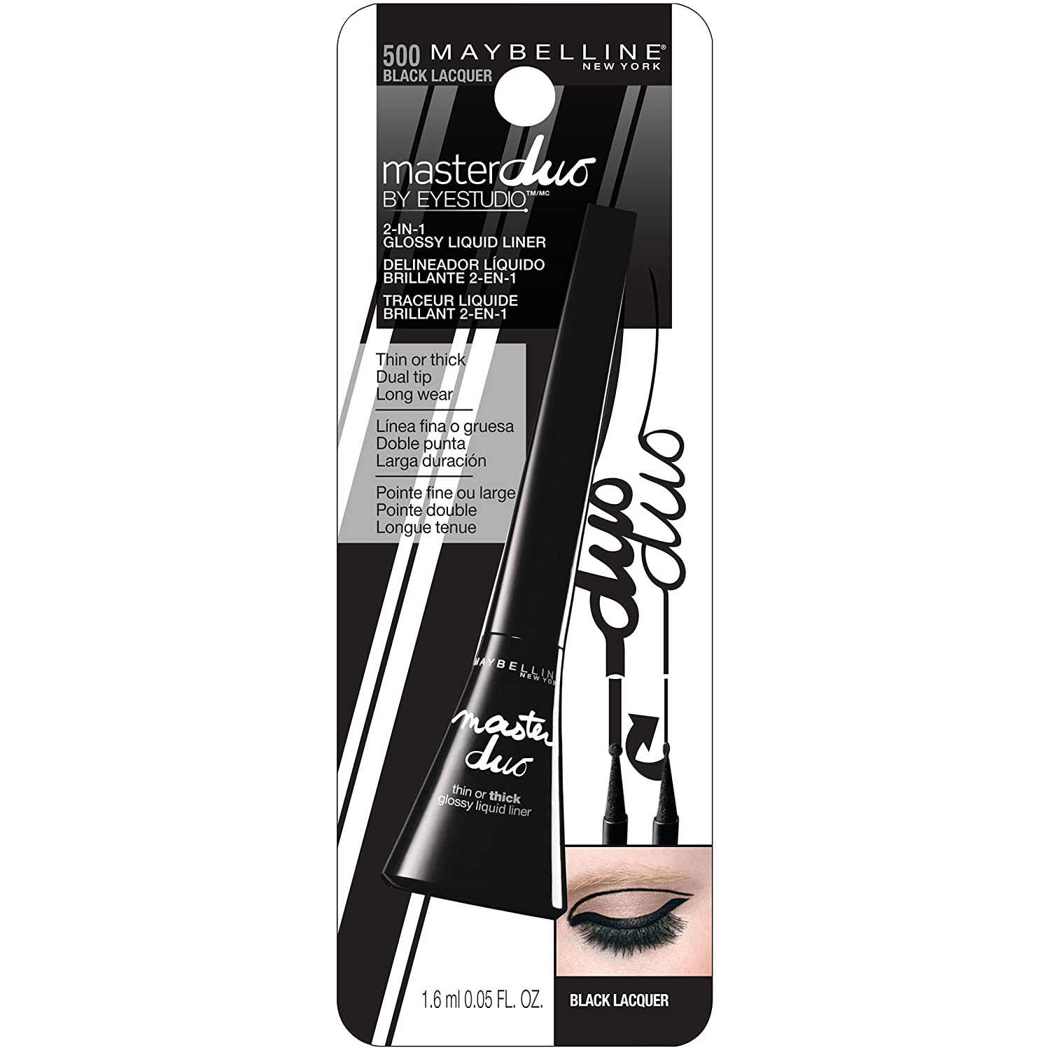 Buy Maybelline Eye Studio Master Duo Glossy Liquid Liner Black Hyper Eyeliner Lacquer 14ml Online At Low Prices In India