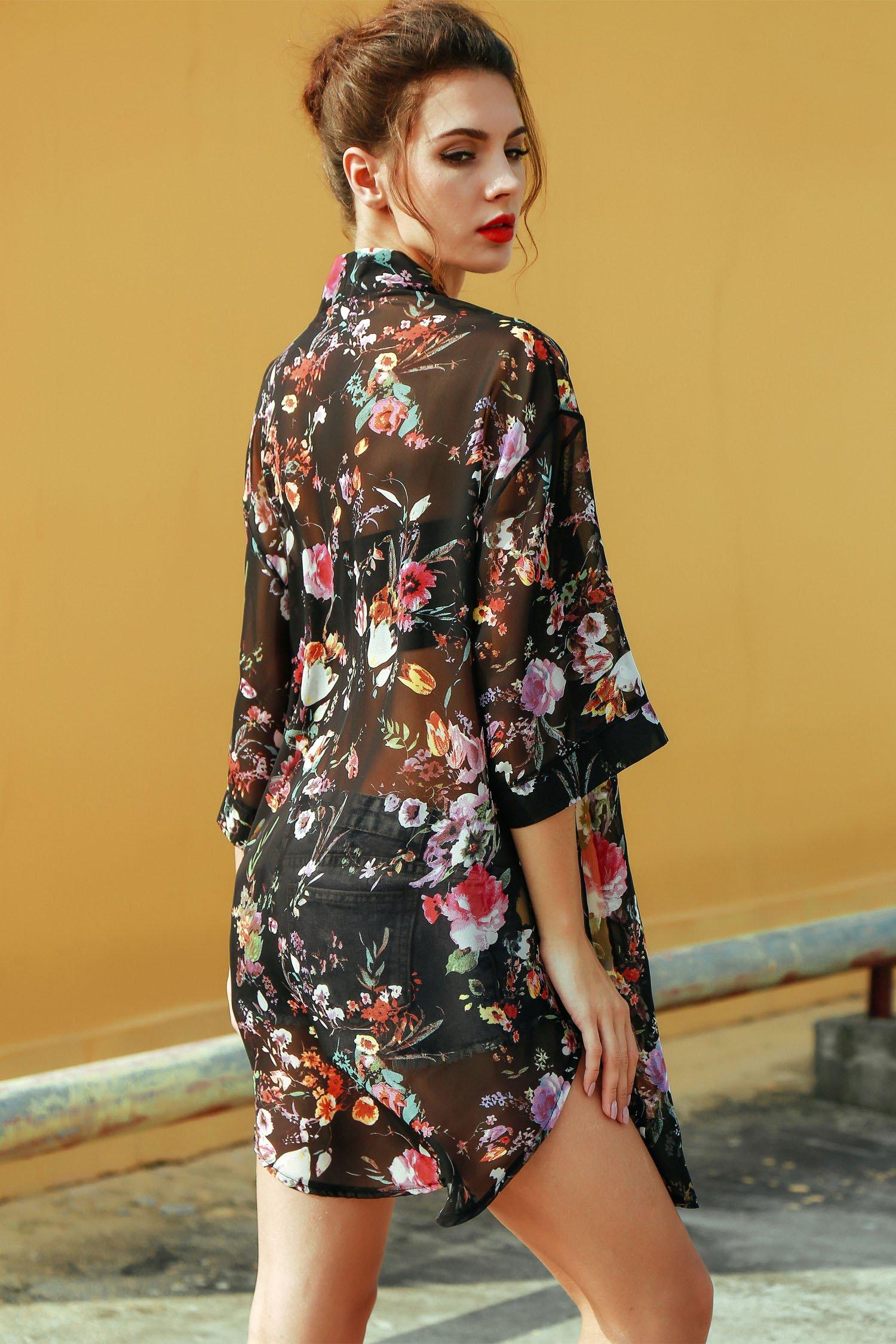 BLUETIME Women's 3/4 Sleeve Floral High Low Chiffon Kimono Cardigan Blouse (M, Black) by BLUETIME (Image #6)