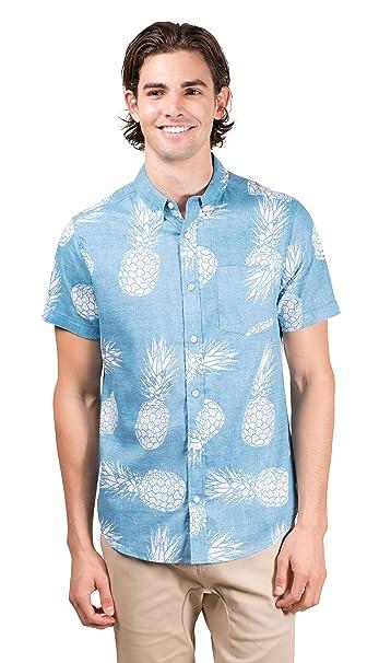 53853e6f Brooklyn Athletics Men's Hawaiian Aloha Shirt Vintage Casual Button Down Tee,  Turquoise Pineapple, Medium: Amazon.in: Clothing & Accessories