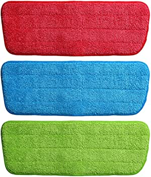 Microfiber Spray Mop Replacement Head Pads - Set of 3 (Multicolour)
