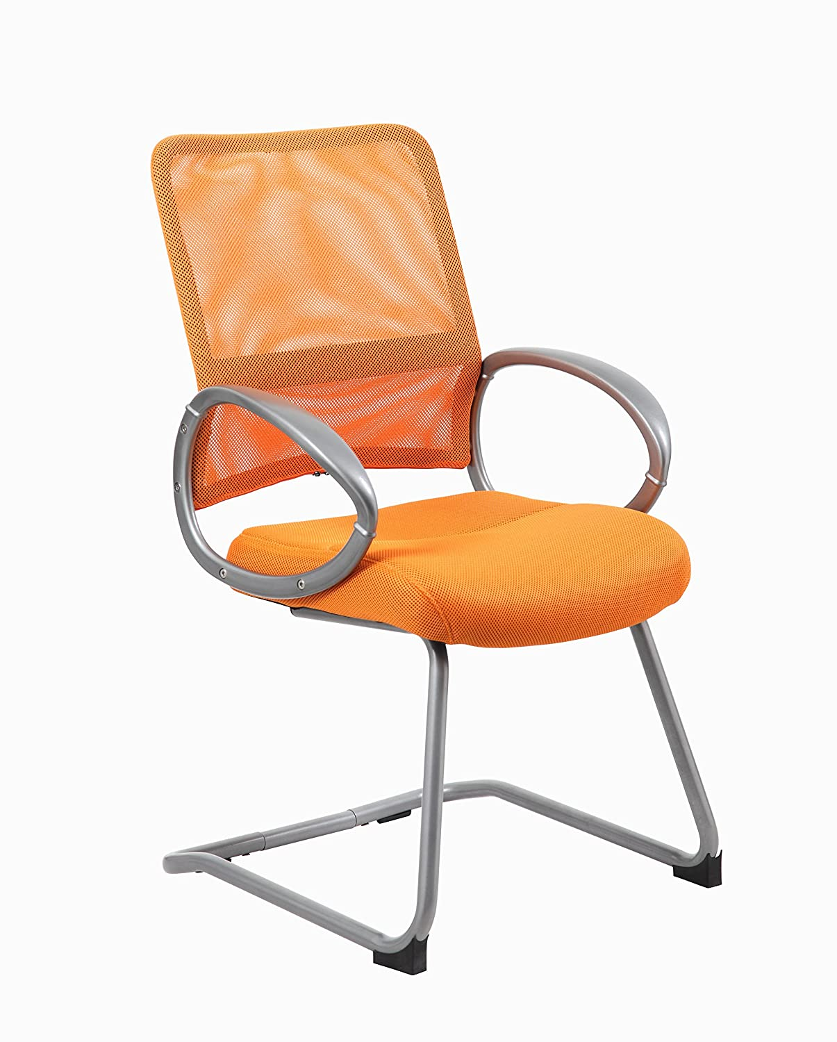 Boss Office Products B6419-OR Mesh Back Guest Chair with Pewter Finish in Orange