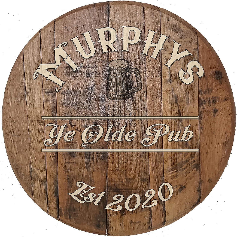 Vintage Oak Barrel Bar Sign Irish English Pub Authentic Whiskey Barrel Wall Art