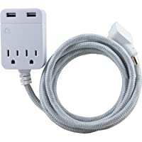 GE Designer Cord Pro Designer Extension Cord with Surge Protection Gray/White (38432)