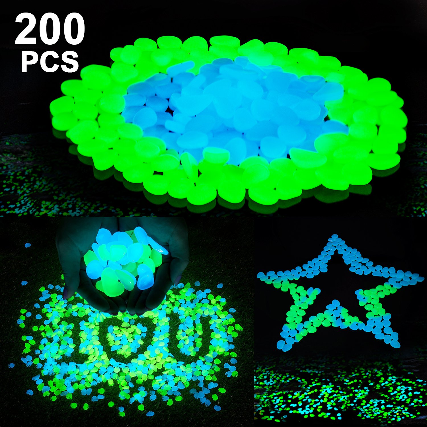 Cynkie 200Pack Glow in the Dark Garden Pebbles for Walkways Outdoor Decor Aquarium Fish Tank Path Lawn Yard, Glow Stone Rocks Outdoor Garden Decorative Stones in Blue & Green