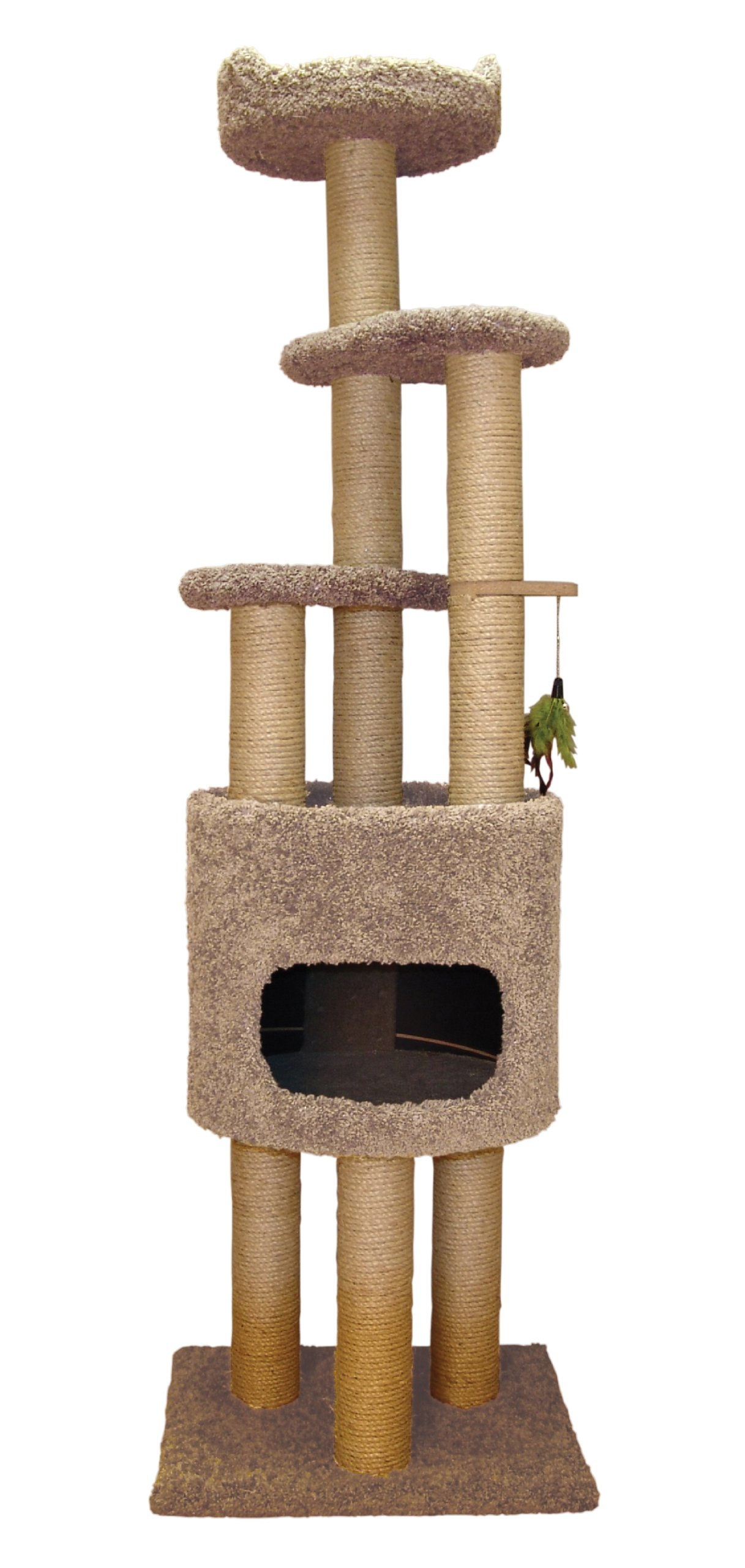Classy Kitty 73'' 5 Story Cat Condo Cat Tree With Sky Lookout and Booster Base Natural beige 21x22x73