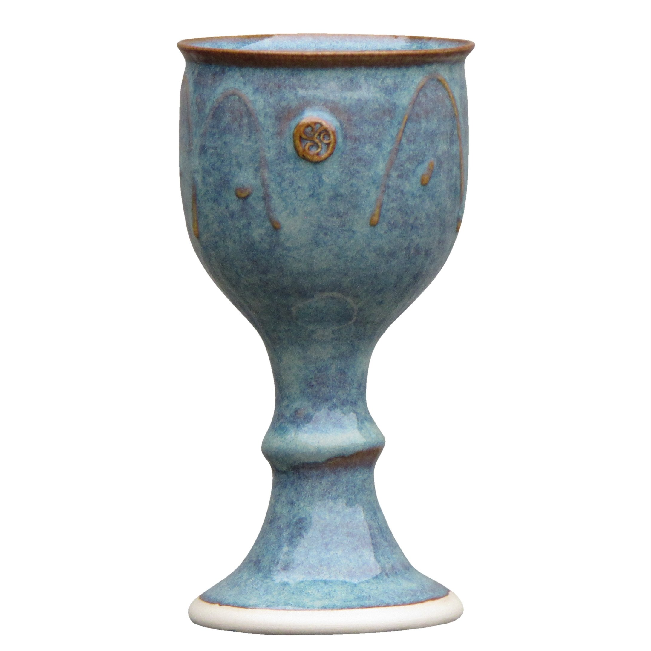 Castle Arch Pottery Ireland Handmade Wine Goblet Hand-Thrown Hand-Glazed with Unique Celtic Stamp in Ireland , 7'' Tall, Green
