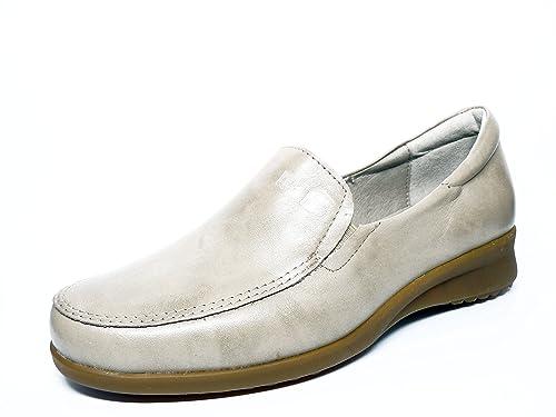 Zapato casual mujer tipo mocasin en piel color Beige de la marca PITILLOS 2100 - 38N