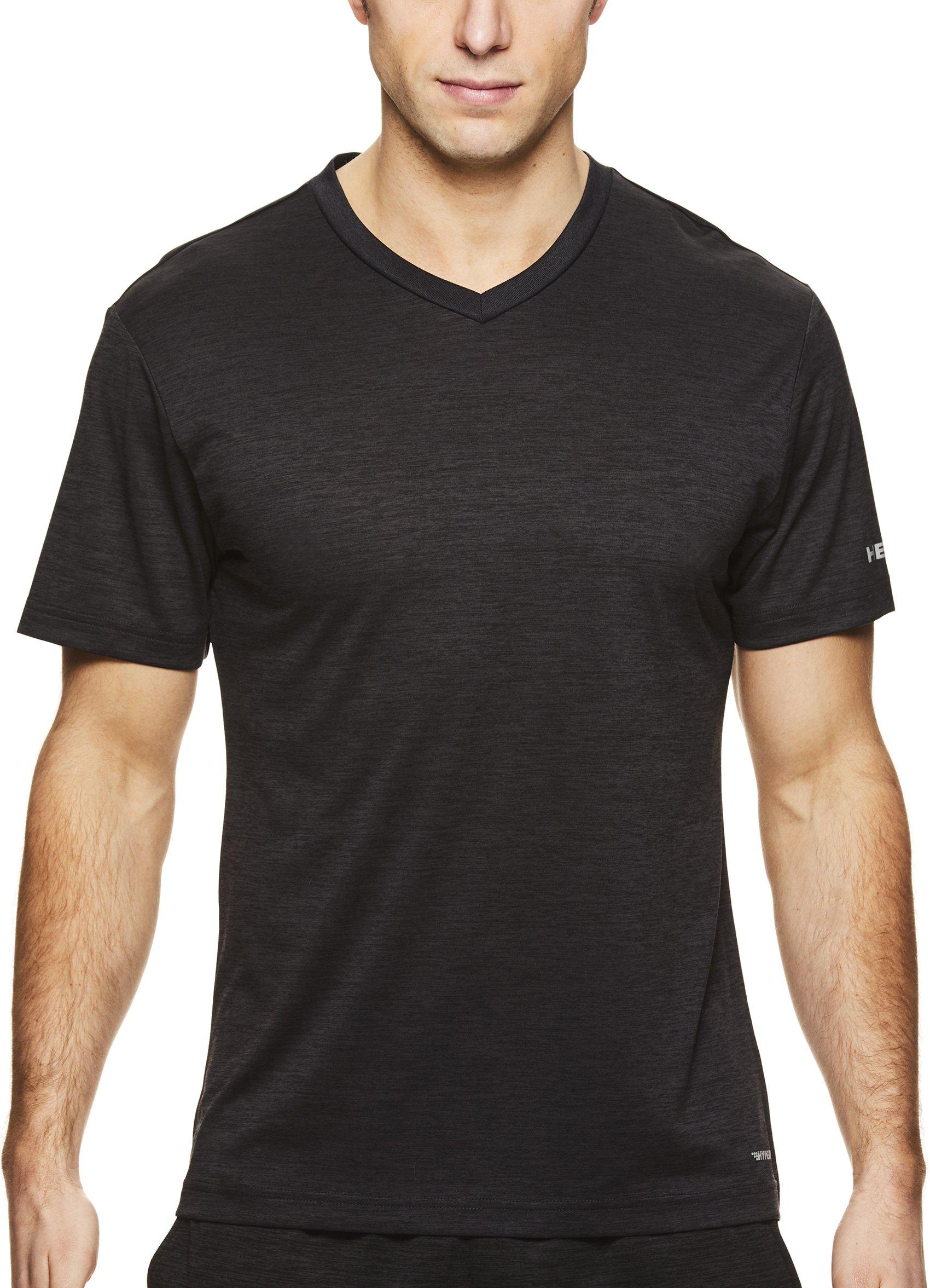 HEAD Men's V Neck Gym Training & Workout T-Shirt - Short Sleeve Activewear Top - Distance Black Heather, Medium