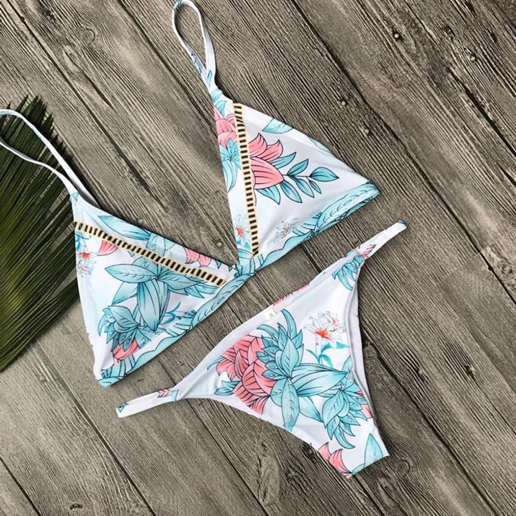 DEELIN Sujetador Estampado Atractivo De La Mujer Bra Sin Respaldo Beach Split Bikini Set Traje De BañO: Amazon.es: Ropa y accesorios