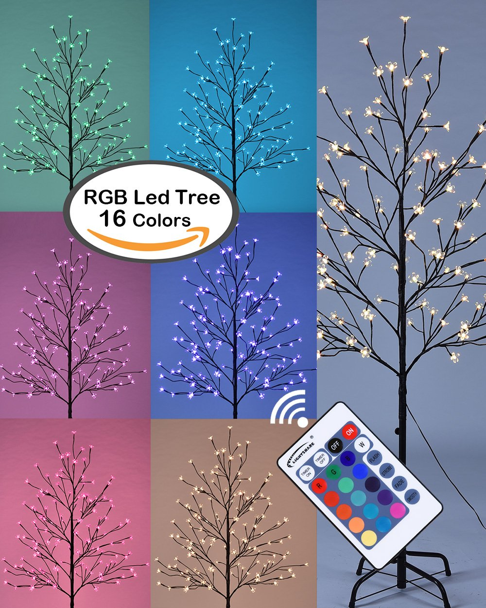 Lightshare 5FT LED Star Light Tree, 5 Feet, RGB With Remote Control, 16 Color-changing Modes