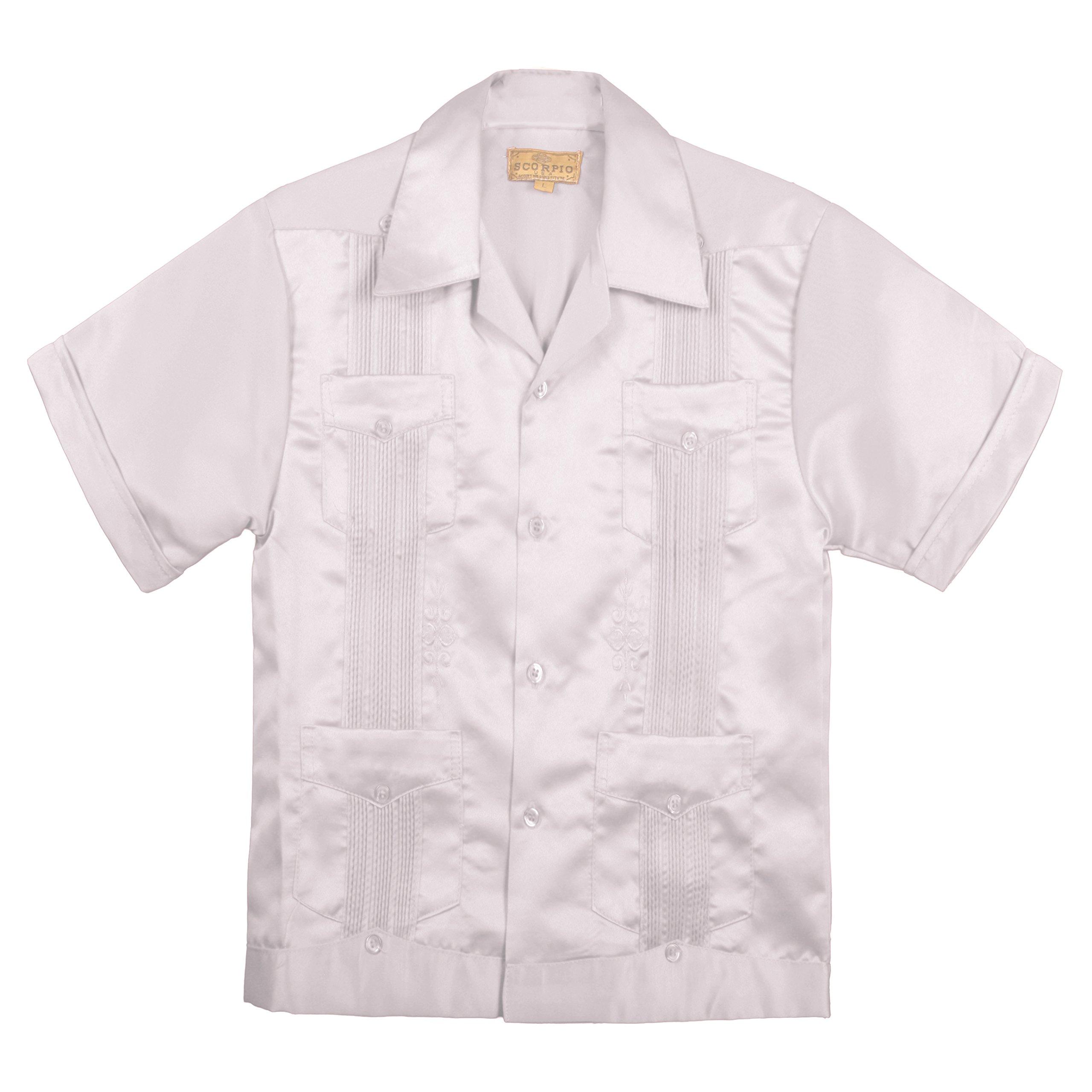Kids Boys' Guayabera Satin Short Sleeve Shirt WHITE
