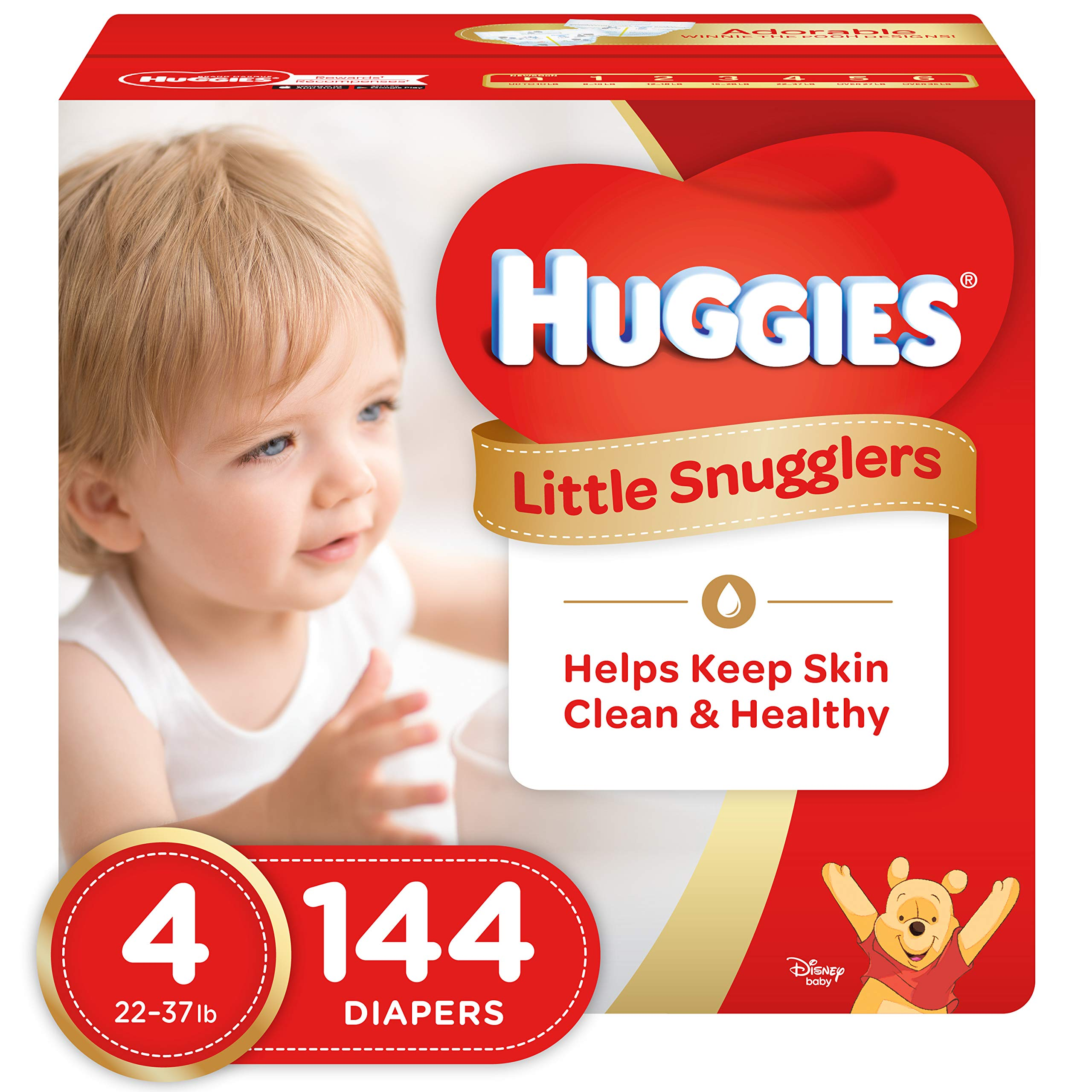 Huggies Little Snugglers Baby Diapers, Size 4, 144 Count, ECONOMY PLUS (Packaging May Vary)