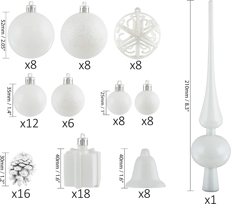 Brubaker 101-piezas de Bolas de Navidad con Copas de /árboles Blancas