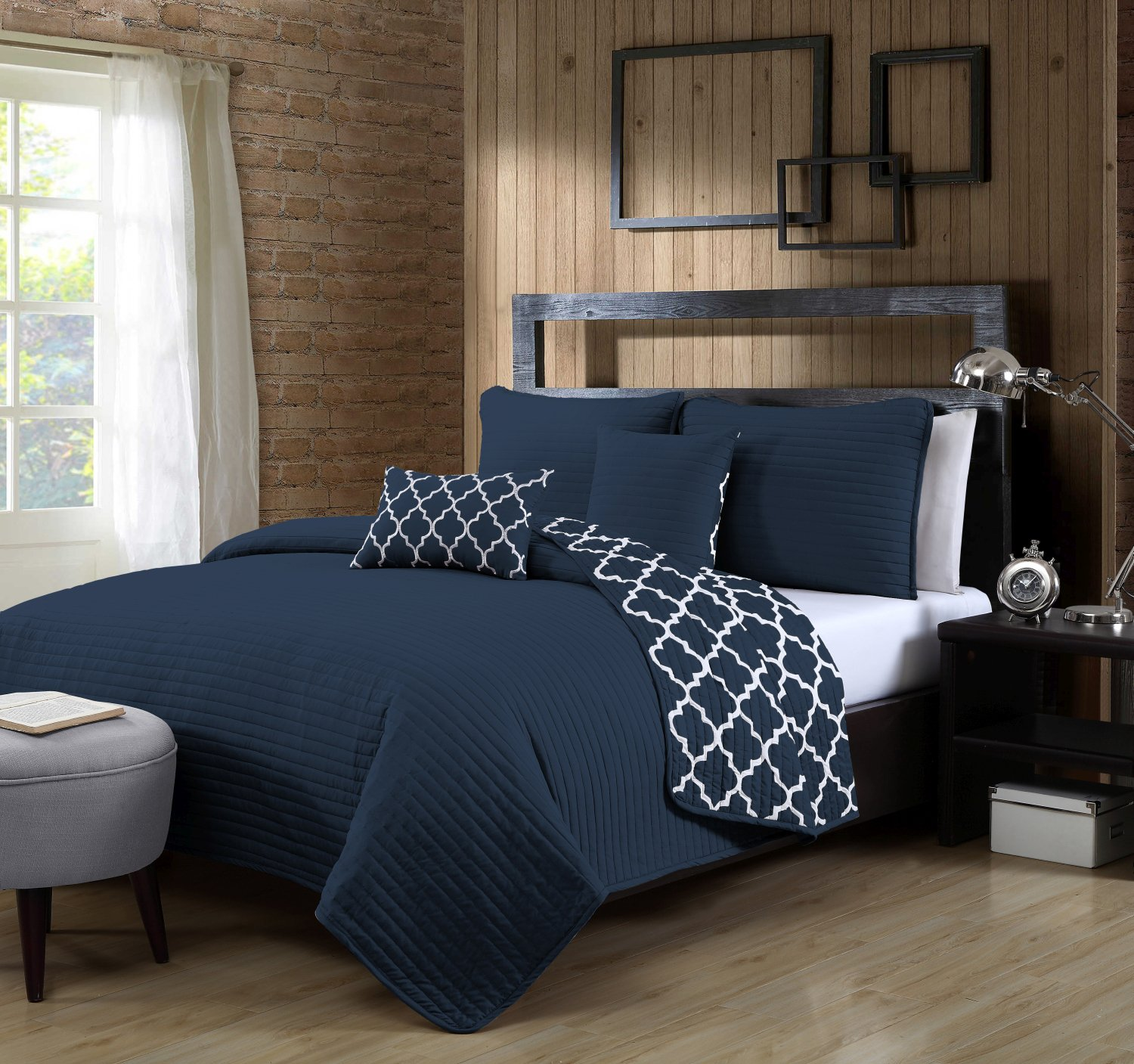 Geneva Home Fashion 5 Piece Griffin Quilt Set, Queen, Navy