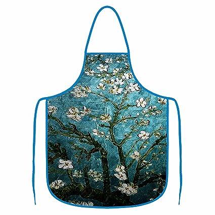 Delantal cocina babero impermeable barbacoa lavable para mujeres y hombres de secado rápido flores de albaricoque
