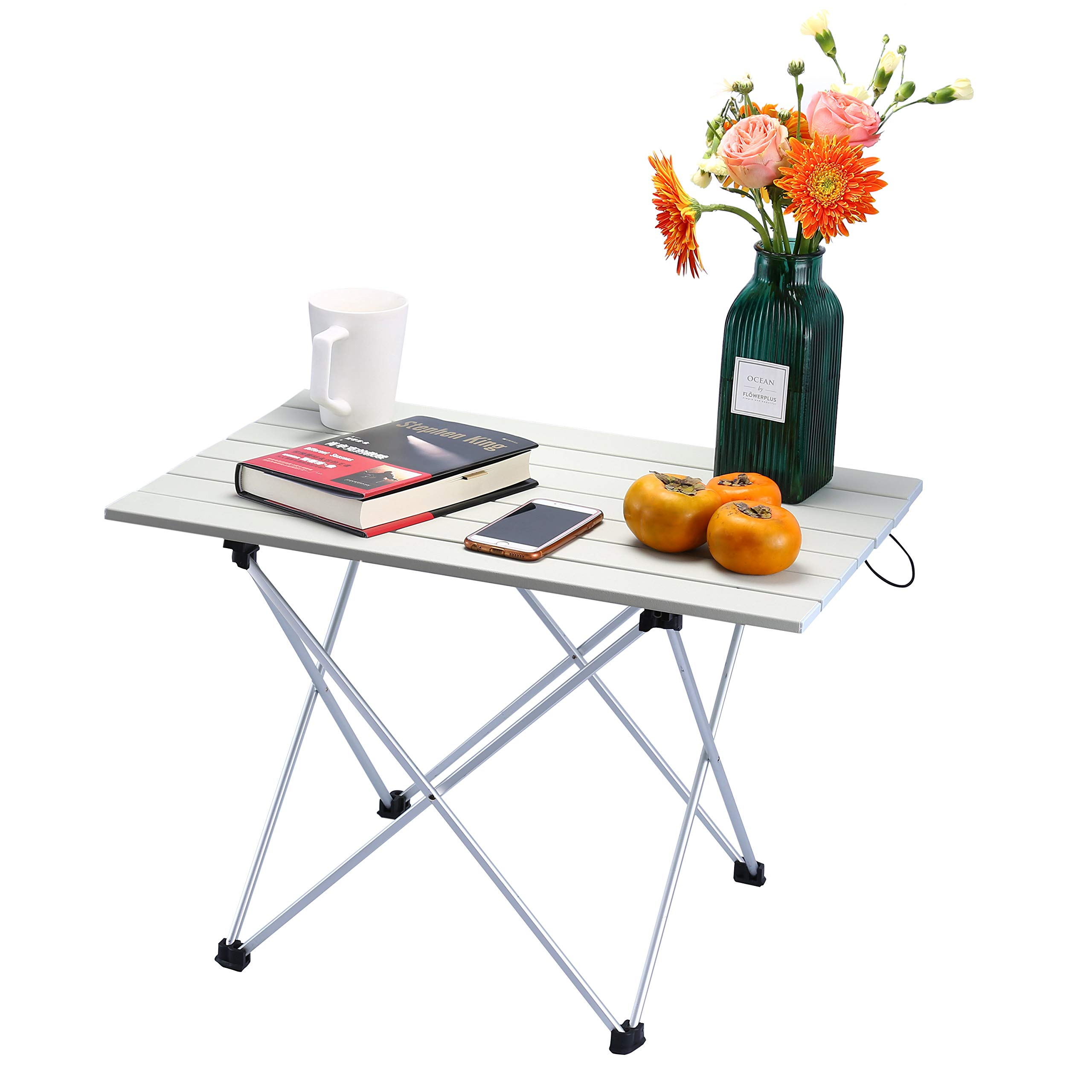 Movaty Portable Camping Table Foldable Outdoor table Lightweight Roll Up Aluminum for Indoor and Outdoor Desk with Carry Bag for Picnic, BBQ, Fishing,Hiking and Travel,Easy to Clean