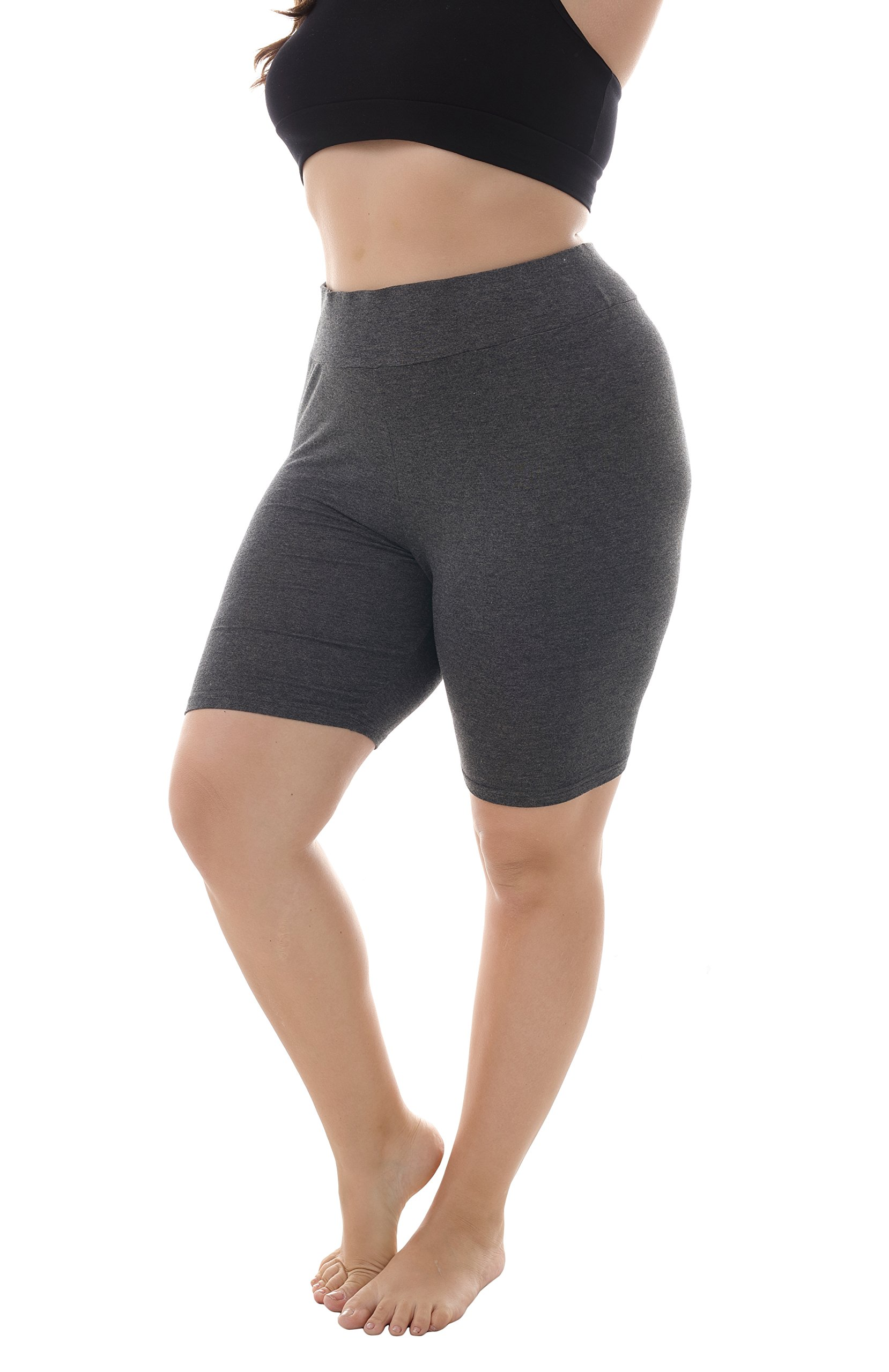 ZERDOCEAN Women's Plus Size Modal High Waist Short Leggings for Summer Dark Gray 4X