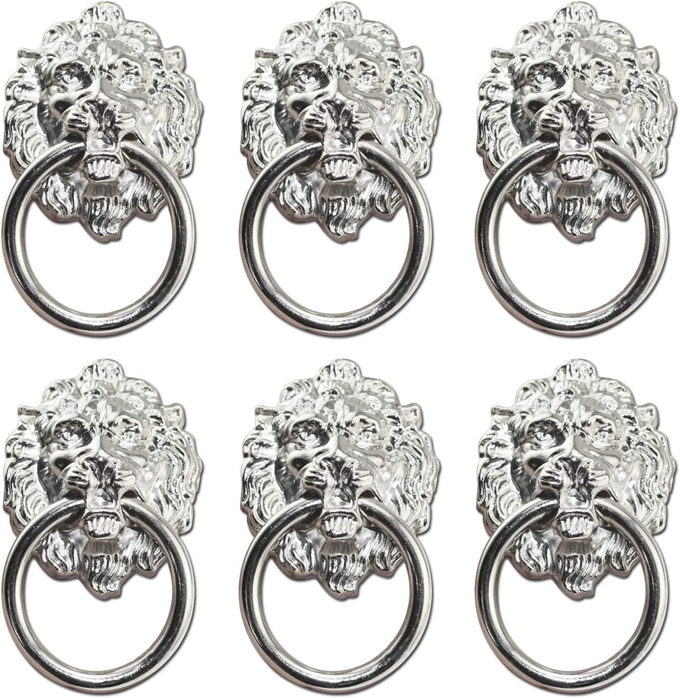 Antrader Metal Lion Head Drawer Ring Door Pull Handle Silver Tone Pack of 6