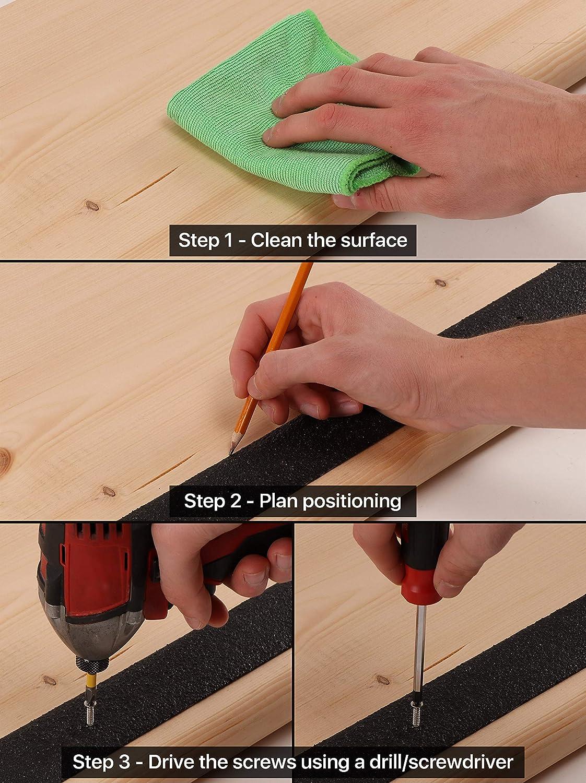 Fiberglass Stair Treads Non Slip Outdoor 32 X2 Black Anti Slip Strips 8 Pack Treads
