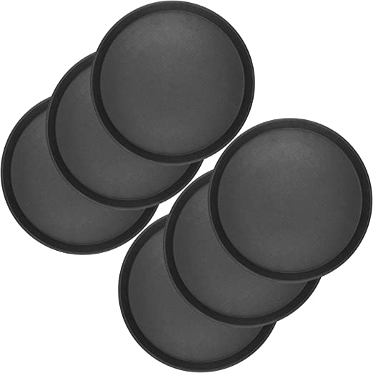 10 x Gastro Tablett Ø 35 rund schwarz antirutsch Kellnertablett Serviertablett