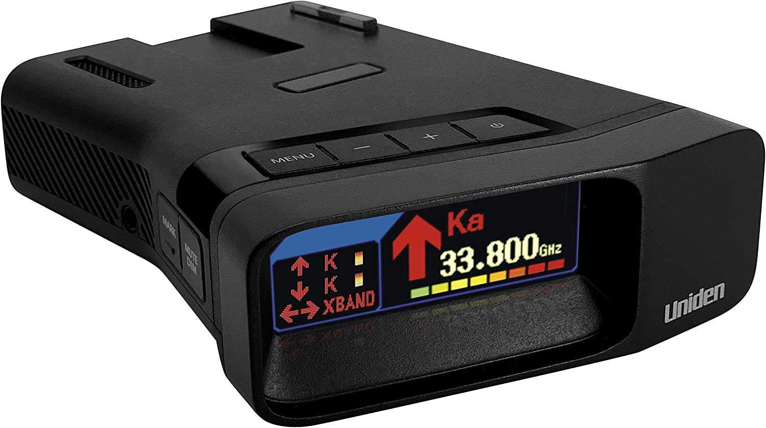 Uniden R7 Extreme Long Range Laser//Radar Detector Dual-Antennas Front /& Rear W//Directional Arrows OLED Display Red Light Camera Speed Camera Alerts Voice Alerts Built-in GPS W//Real-Time Alerts