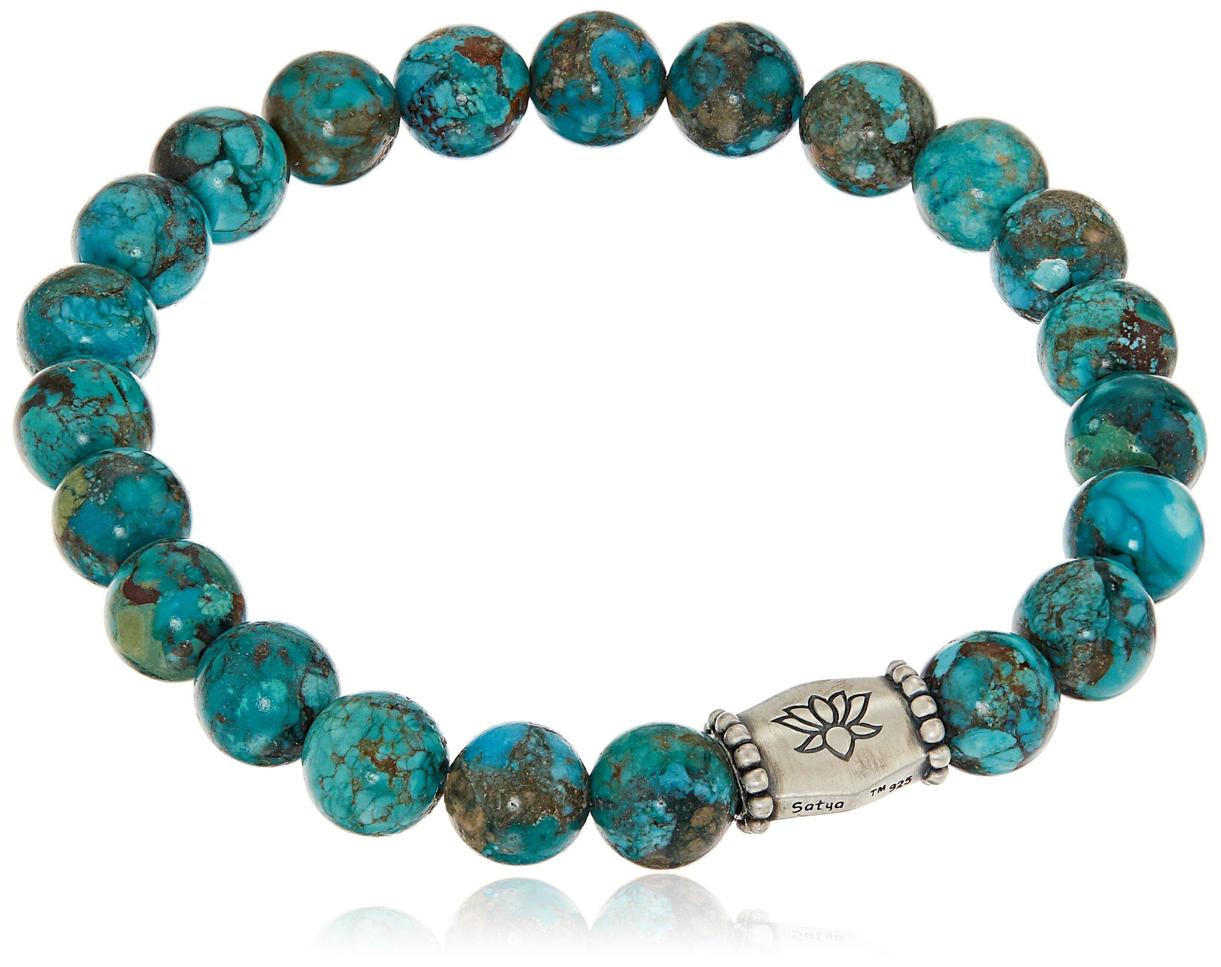 Satya Jewelry 8mm Turquoise Silver Lotus Barrel Stretch Bracelet