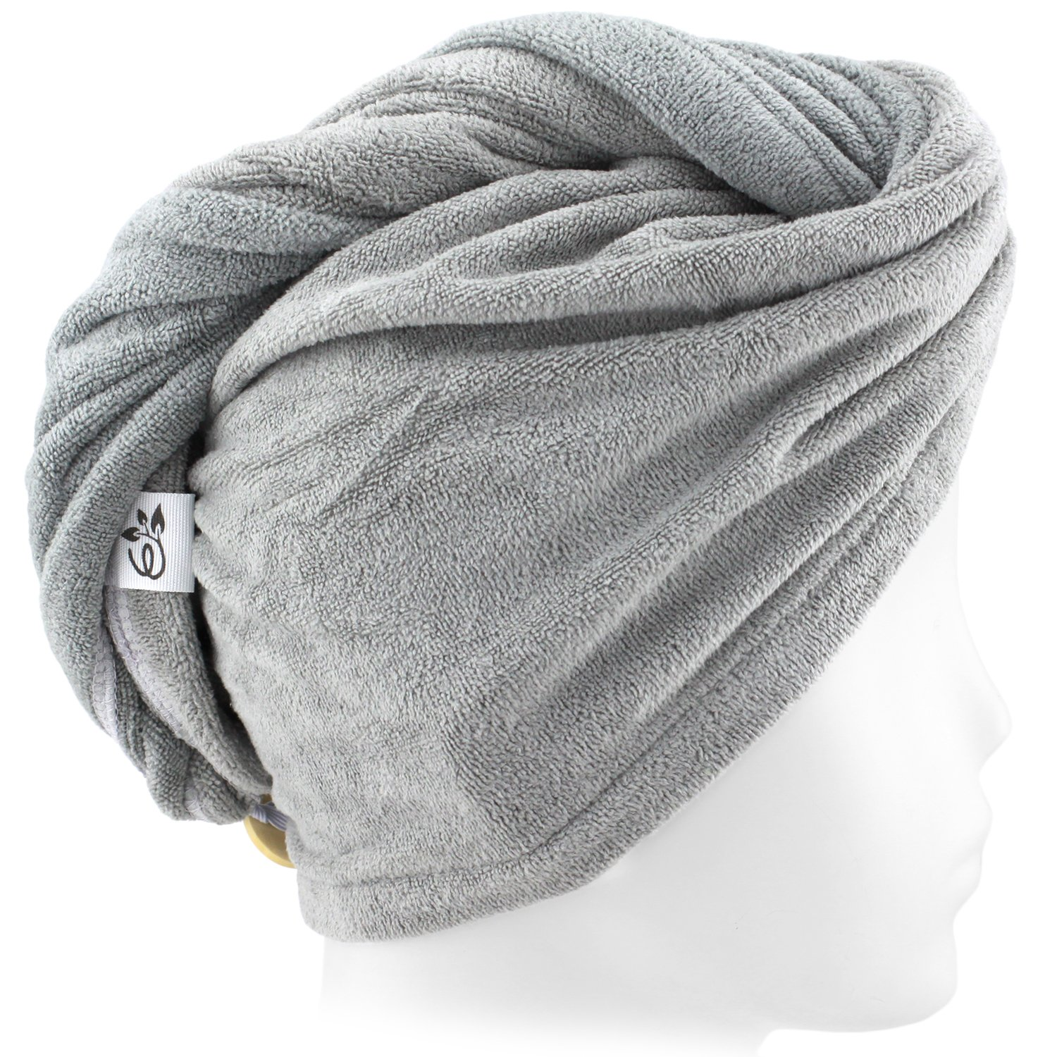 Evolatree Microfiber Hair Towel Wrap - Quick Magic Hair Dry Hat - Anti Frizz Products For Curly Hair Drying Towels - Neutral Gray by Evolatree (Image #9)