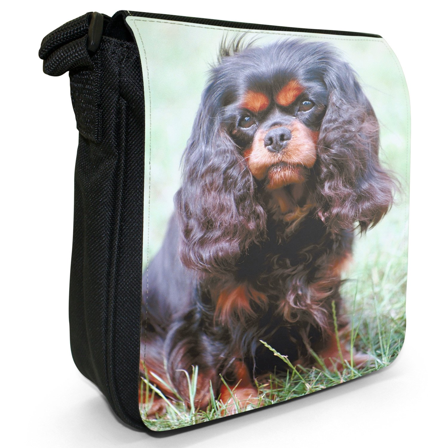 Cavalier King Charles Spaniel Dog Sitting Small Black Canvas Shoulder Bag / Handbag Snuggle