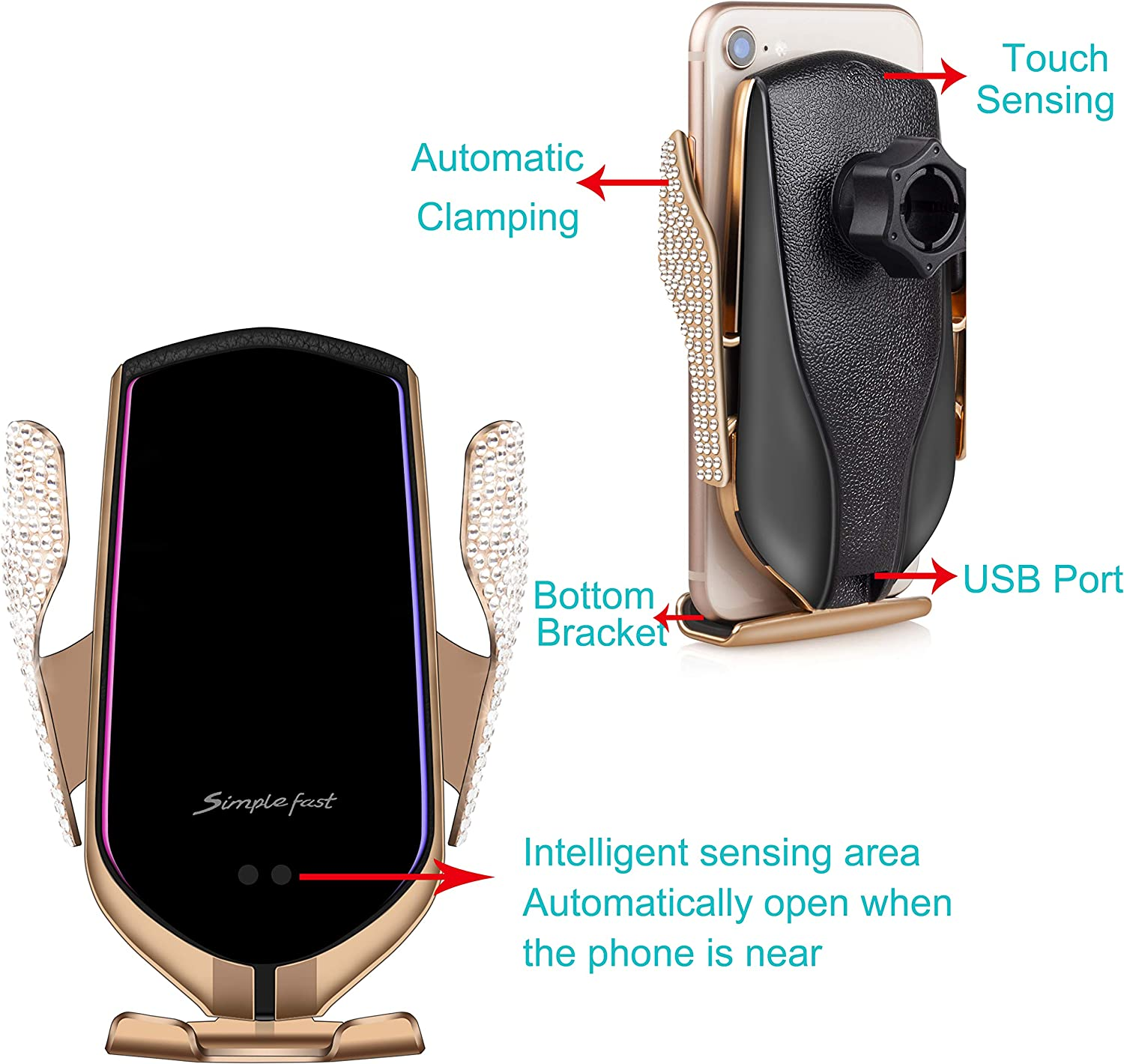 Wireless Car Charger Mount with Bling Bling Handmade Rhinestones Crystal Touch Sensing Automatic Retractable Clip Fast Charging Holder for iPhone Xs Max//XR//X//11//11 Pro//8//8Plus,Samsung S10//S9//S8//Note1