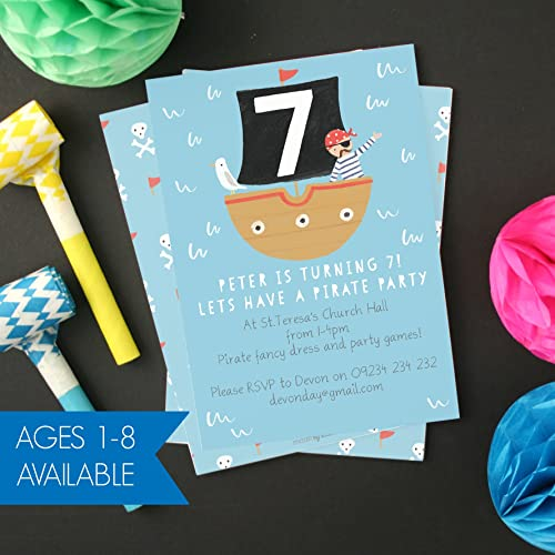 Personalised Pirate Childrens Birthday Invitations Pack Of 8
