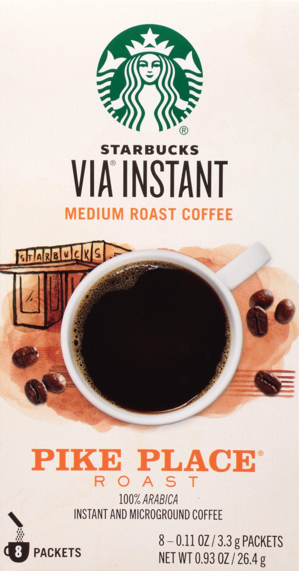 Starbucks VIA Instant Coffee, Pike Place Roast, 96 Count