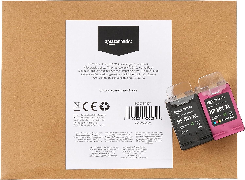 AmazonBasics - Cartucho de tinta regenerado, HP 301XL, negro y tricolor: Amazon.es: Oficina y papelería